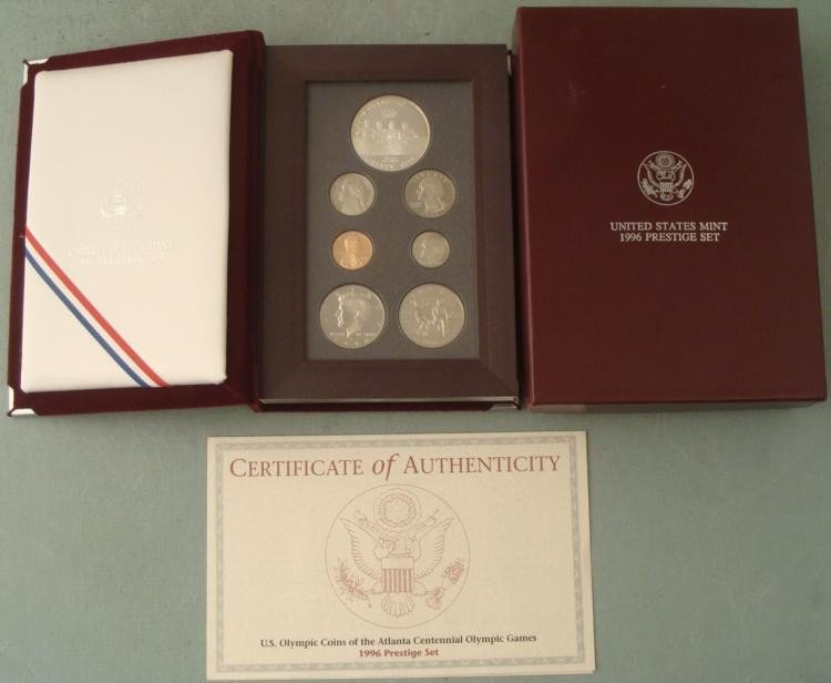 1996 U.S. Mint Prestige Set Olympic Coin in Box w/ COA