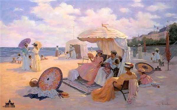Christa Kieffer - A Day at the Beach 1900 Lithograph