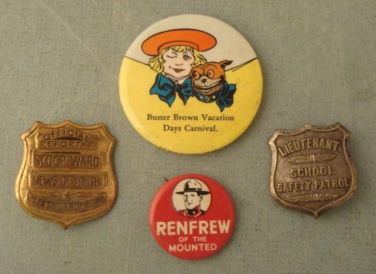 4 Vintage Pins Renfrew, Buster Brown, Ward