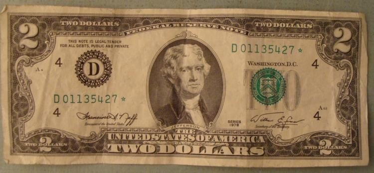 Star note 2 two dollar bill d mint cleveland 1976 star note 2 two dollar bill d mint cleveland 1betcityfo Choice Image