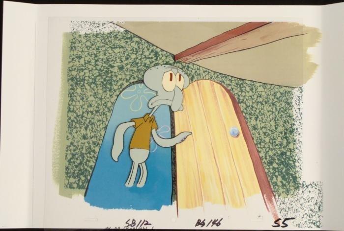 Squidward Animation Original SpongeBob Cel Background