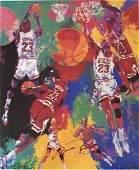 Double Signed LeRoy Neiman Michael Jordan Lithograph