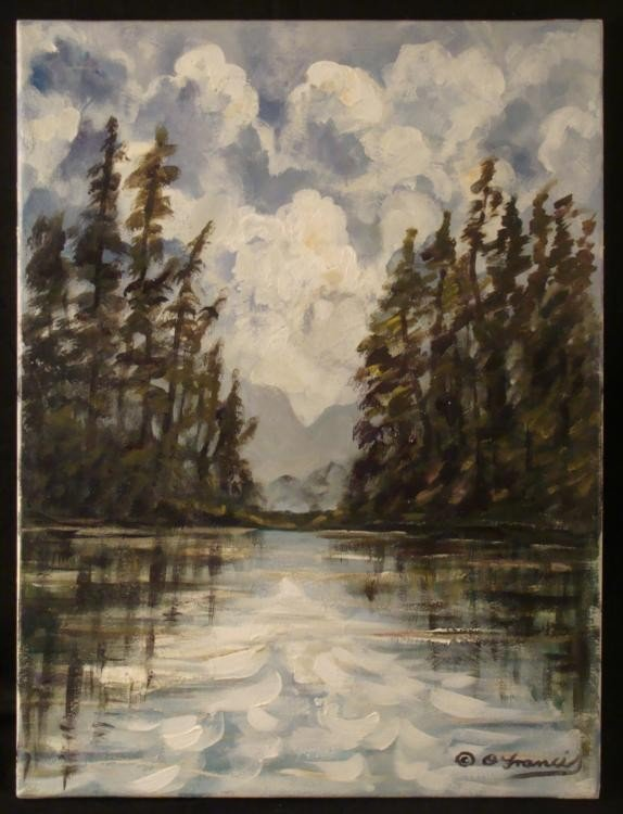 Oliver Francis Original Painting Lake View Forest Scene