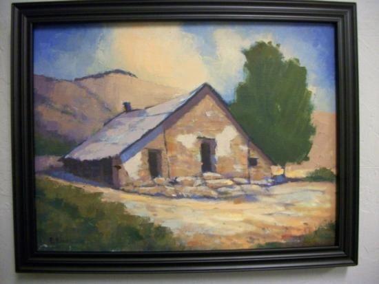 Antique Landscape with House Oil Signed - E.BAUM