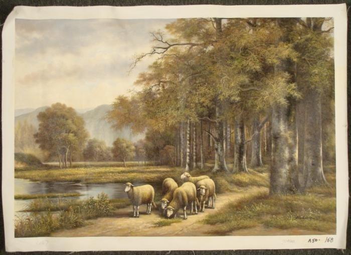 Bachmann Original Oil Painting Sheep Landscape