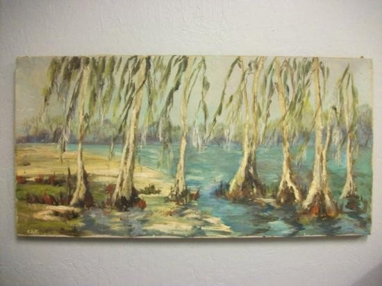 Louisiana Swamp Painting Signed - Colette