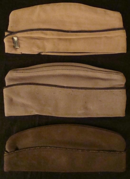 3 WOOL WWII OFFICER'S SIDE CAPS-METAL BULLION PIPING