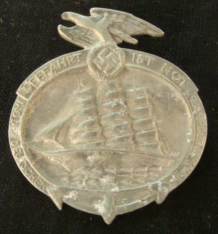 NAZI NAVY/NAVAL BADGE-TALL SHIP EAGLE & SWASTIKA -1935
