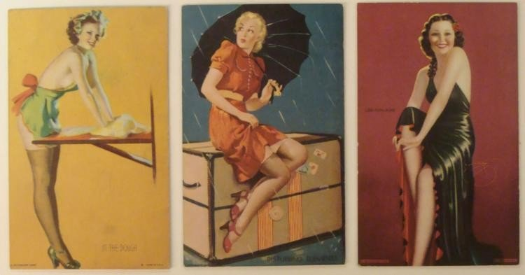 "3 WWII ERA ""VARGA GIRL"" TYPE HEAVY STOCK GIRLIE CARDS"