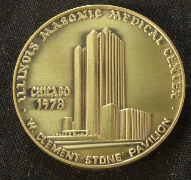 SOLID BRASS 1973 CHICAGO ILLINOIS MASONIC MEDICAL COIN