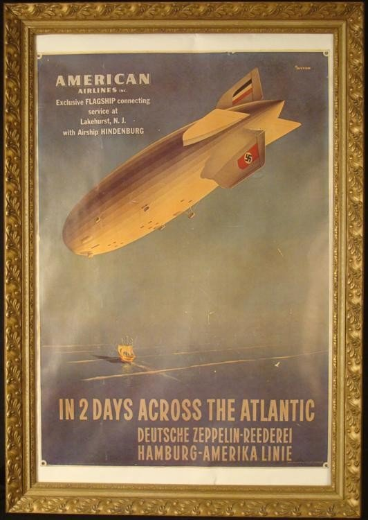 American Airlines Hindenburg Advertising Poster 1981