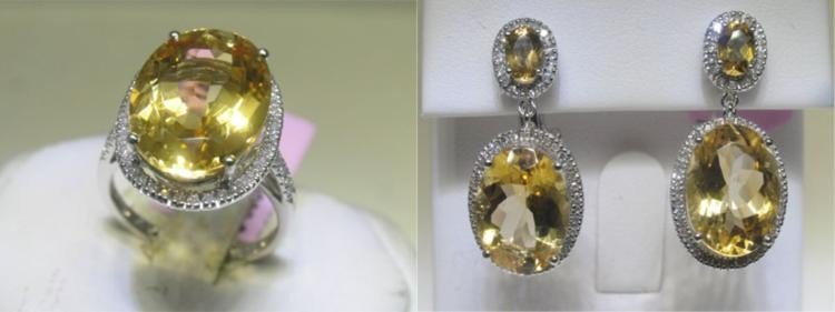 Citrine and Diamonds Ring Sz. 6 3/4 and Earrings Set