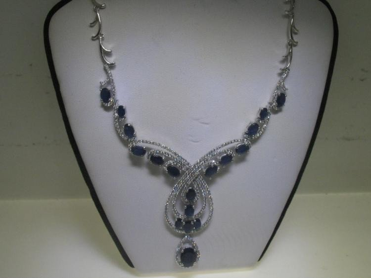 14K White Gold Blue Sapphire and Diamonds Necklace