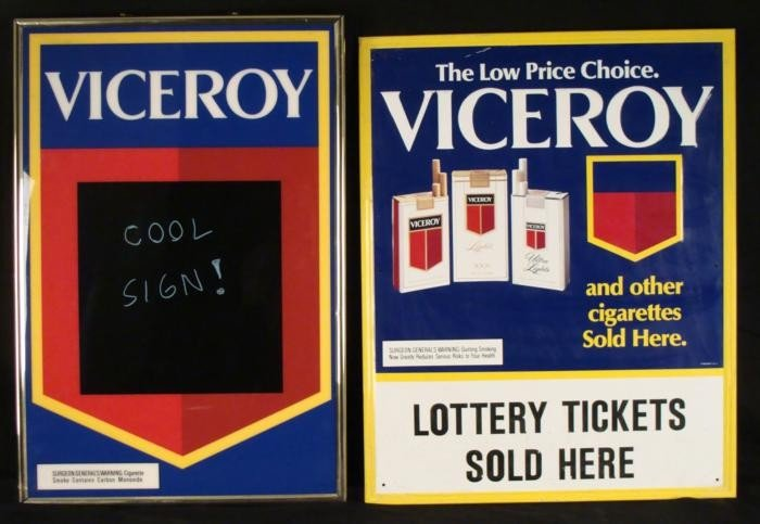 2 Viceroy Cigarette Advertising Signs Hipster Cool