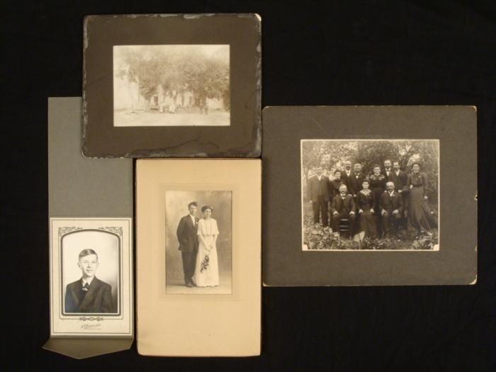 4 Antique Photographs Portraits House 1900s