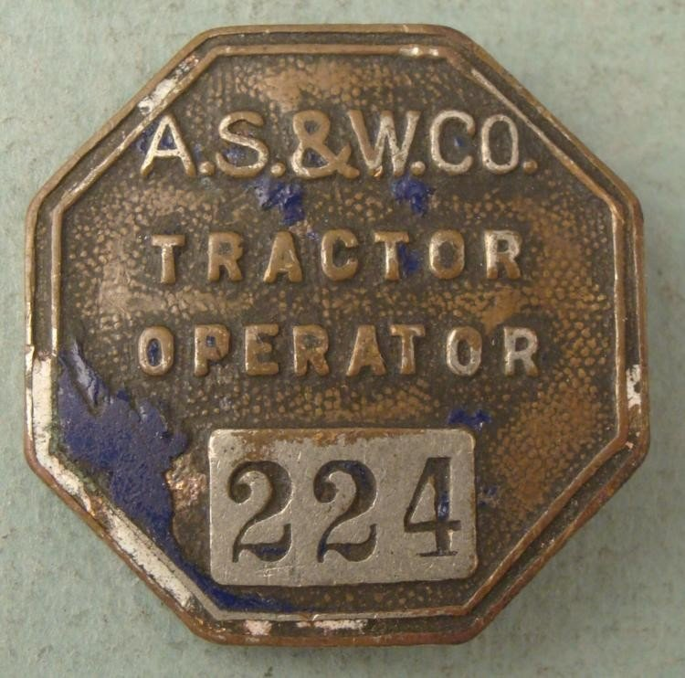 A.S. & W. Co. Tractor Operator Pinback Badge Vintage