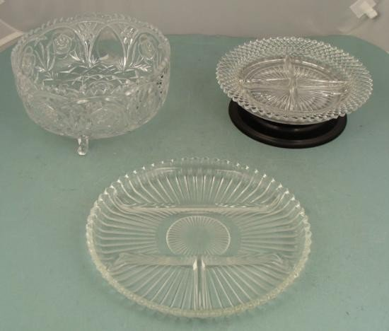 3 Attractive Glass Vintage Serving Plates, Trays, Bowls
