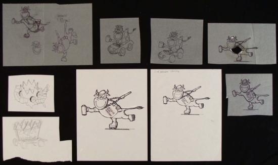 Original Art Drawings Ed Margolis Crown on Wheels COW