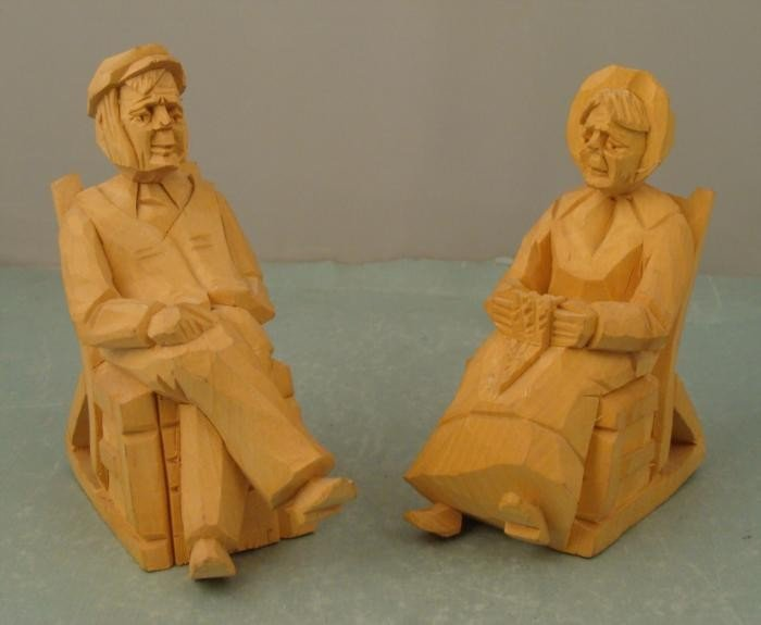 2 Vintage Wood Carved Ccouple On Rocking Chairs