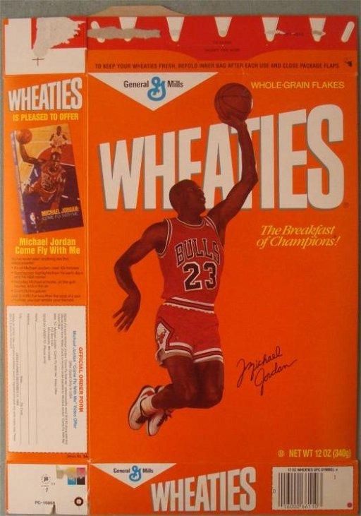 1989 Michael Jordan Wheaties Cereal Box Left Handed