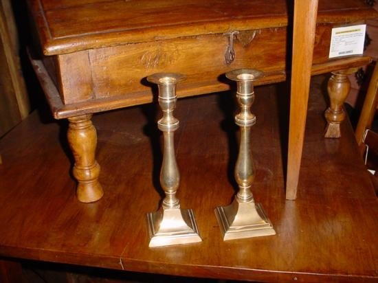 Pair of French brass candlesticks Mid 1800's