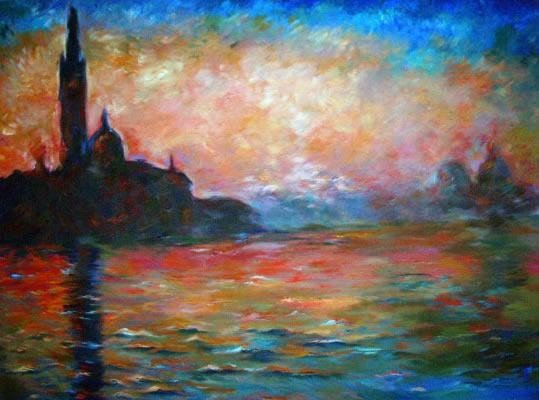 Venice at Dusk by Monet Numbered Giclee17x22 1/2 Canvas