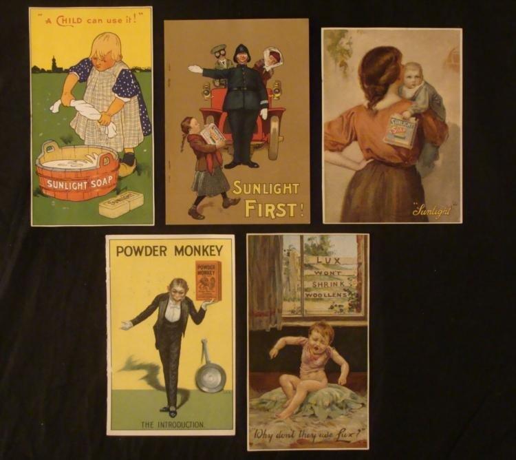 5 Antique Soap Advertising Sunlight, Lux, Powder Monkey
