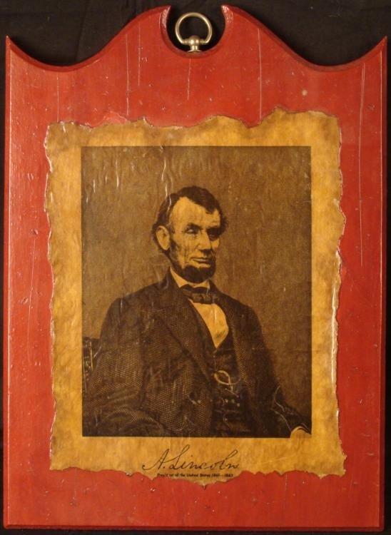 Abraham Lincoln Vintage Picture Plaque Varnished