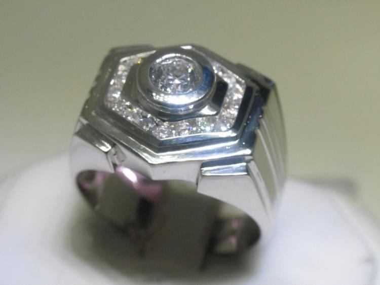 14K White Gold Men's Diamond Ring -6 Sided, Size 11