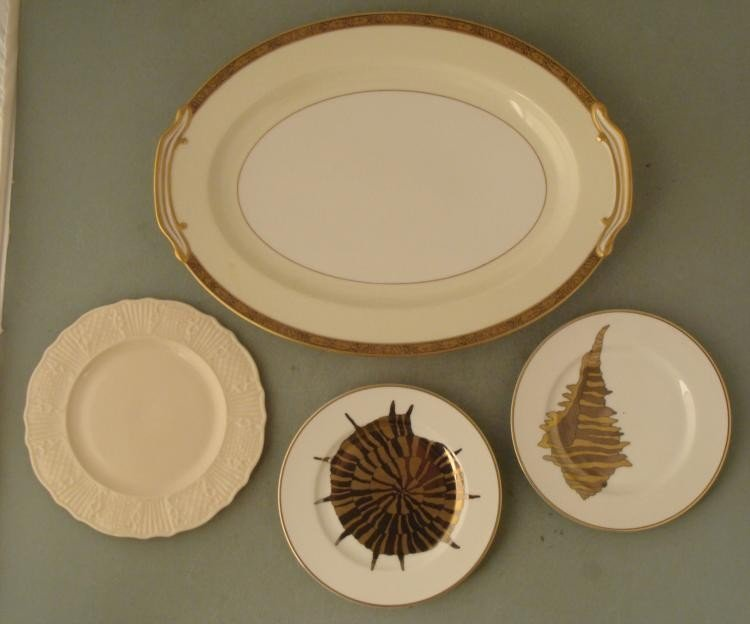 4 Lenox Fitz & Floyd Noritake Plates Platter Gold Trim