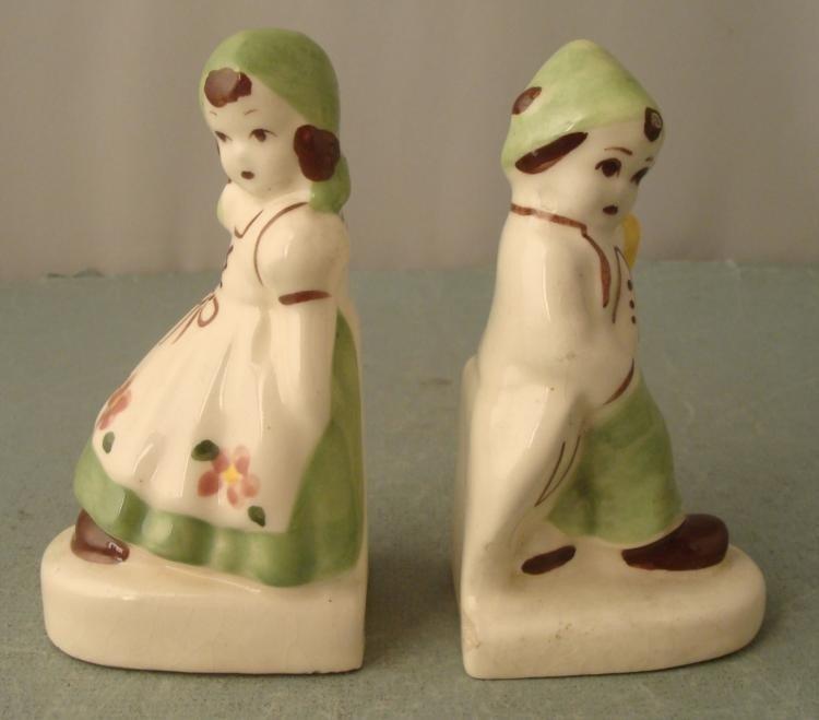 2 Children Ceramic Book Ends Figurines Vintage Antique