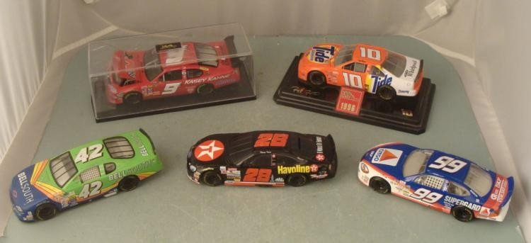 5 Diff Nascar Racing Cars #9 #42 #99 #10 #28 Die Cast