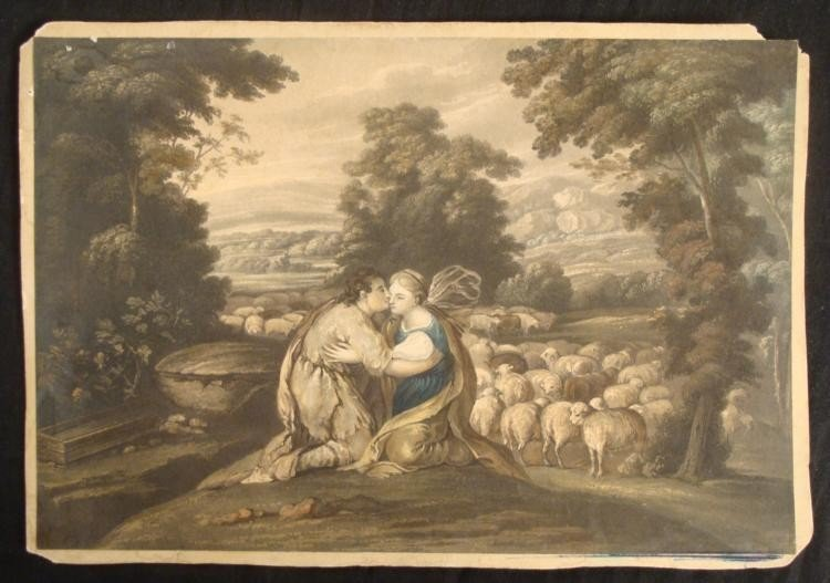 Murillo Antique Bibilical Art Print Jacob & Rachel 1818