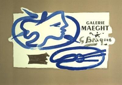 1950 Braque Galerie Maeght Mourlot Lithograph - 2