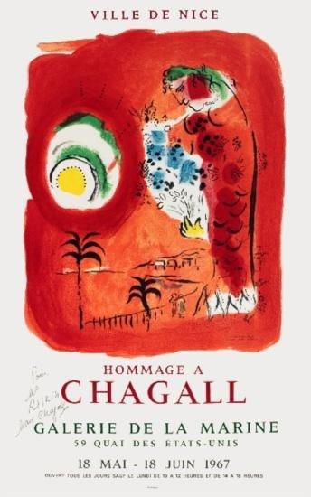 Signed 1967 Chagall Ville De Nice Mourlot Litho
