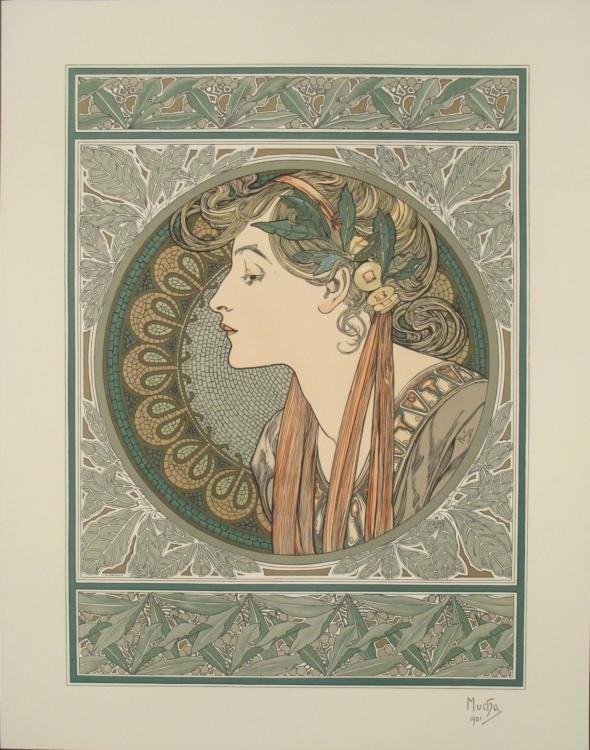 Alphonse Mucha : Laurier, 1901 Art Nouveau Print