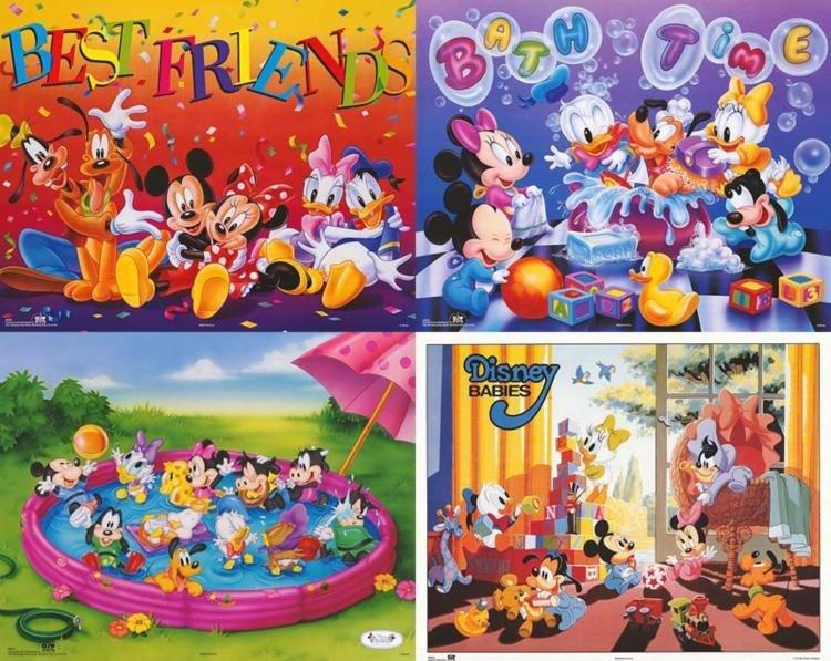 4 Disney Prints: Babies, Mickey Mouse & Friends