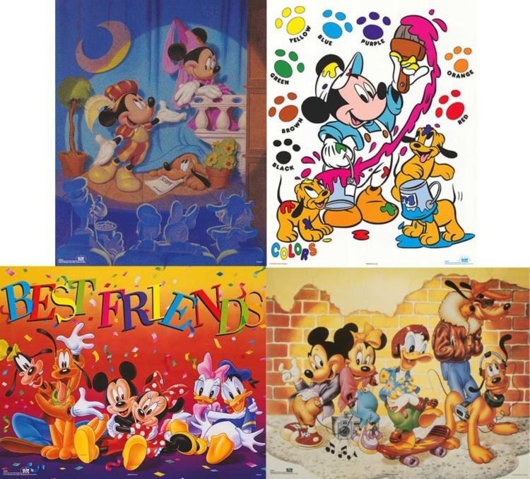 4 Disney Prints: Mickey Mouse Movie, Stage Play, Art