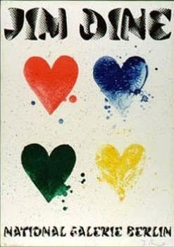Jim Dine : Four Hearts Art Print