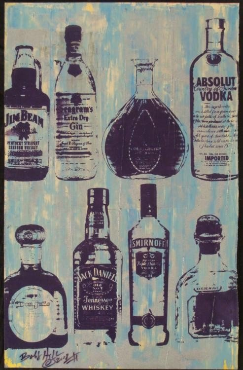 Bobby Hill Original Signed Painting Bottles Blue II