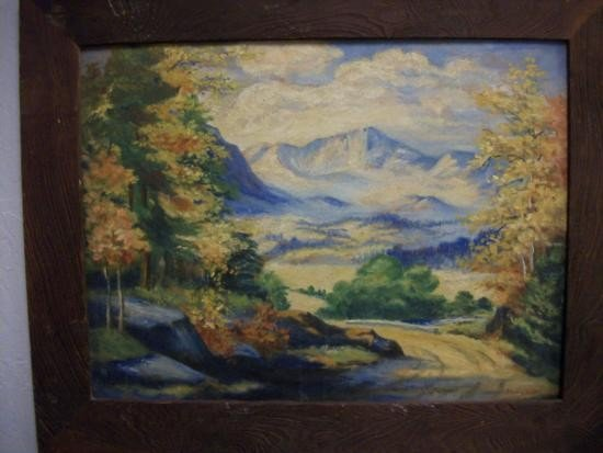 Antique Autumn Country Road Scene Sgnd- Marie Hull