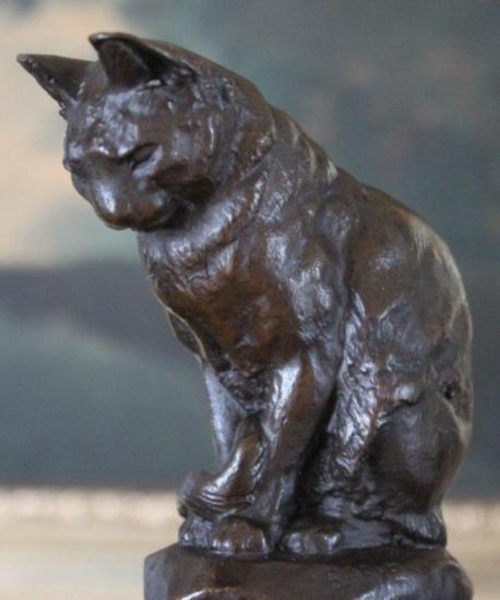 Splendid Cat Bronze Sculpture After Barye