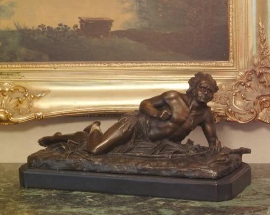 Superb Bronze Sculpture Crawling Indian