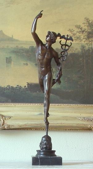 Magnificent Bronze Sculpture Mercury & Caduceus