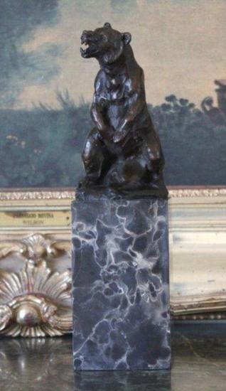 Magnificent Grizzly Bear Bronze Sculpture After L Car