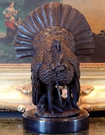 Splendid Bronze Sculpture Wild Turkey