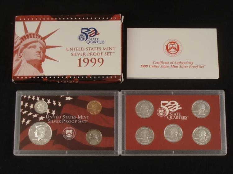 1999 US Mint Silver Proof Set w/ COA & State Quarters
