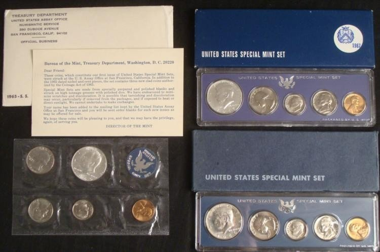 (3) 1965, 1966, 1967 Special Mint Sets