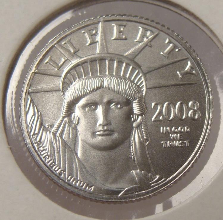 2008 $10 Platinum Liberty Coin 1/10 Oz.