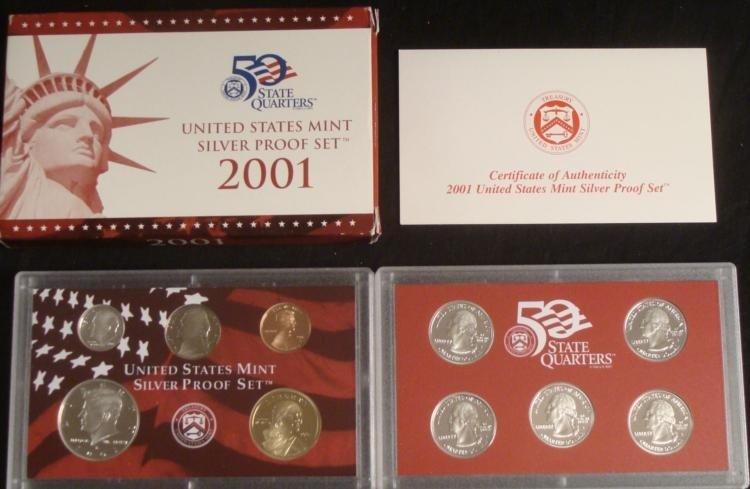 2001 US Mint Silver Proof Set & State Quarters w/ COA